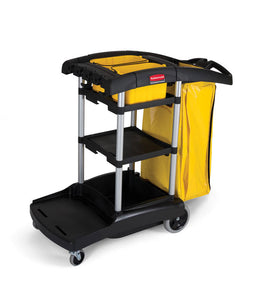 "High capacity black cart with yellow vinyl bag 49.75""x21.75""x38.375""H"