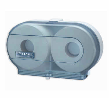 Twin roll toilet tissue dispenser blue plastic 12