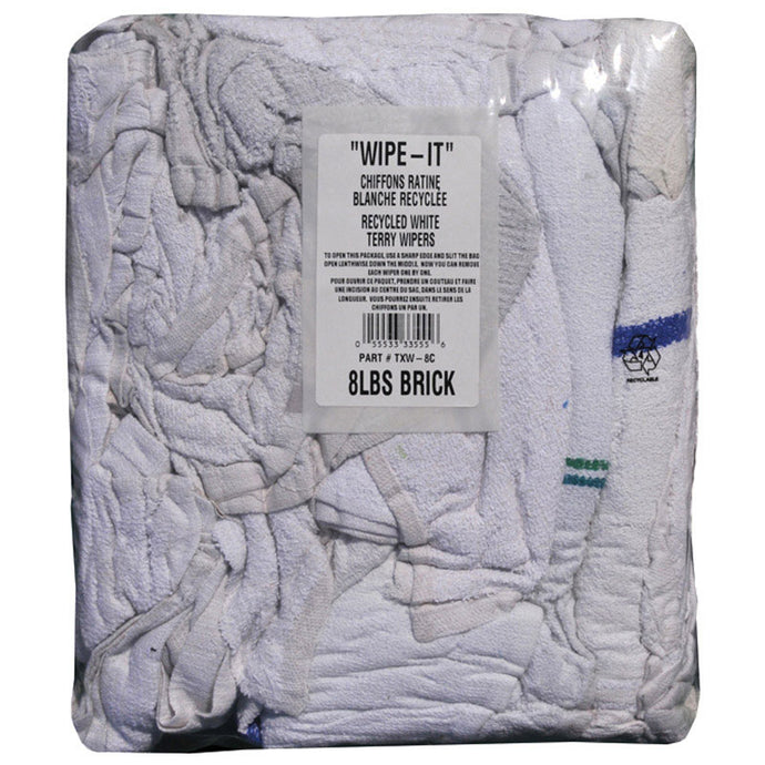 (535BP) Bulk terry cloth wipes white bag 8 lbs