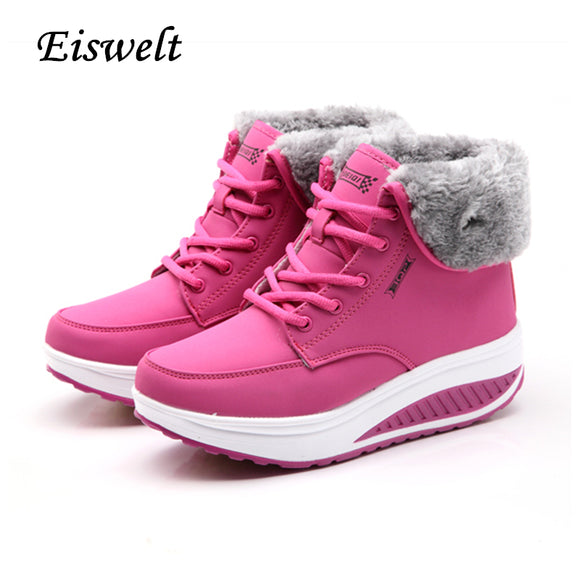EISWELT Winter Female Plus Velvet Swing Shoes Snow Platform Boots