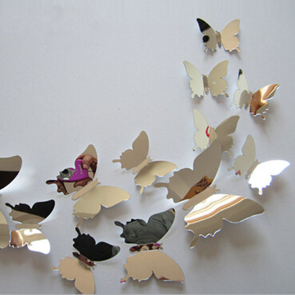 12pcs/set New Arrive Mirror Sliver 3D Butterfly Wall Stickers Party Wedding Decor DIY Home Decorations - NosNos