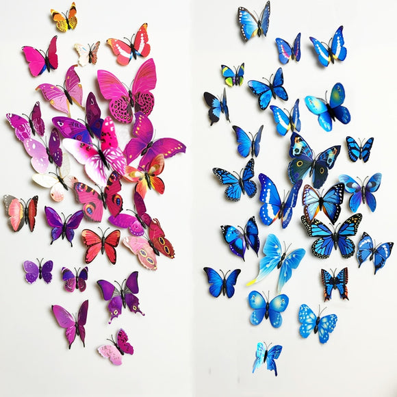 Free shipping 12pcs PVC 3d Butterfly wall decor cute Butterflies wall stickers