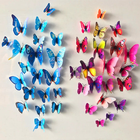 12 Pcs/Lot PVC 3D DIY Butterfly Wall Stickers Home Decor Poster for Kitchen Bathroom Fridge Adhesive to Wall Decals Decoration - NosNos