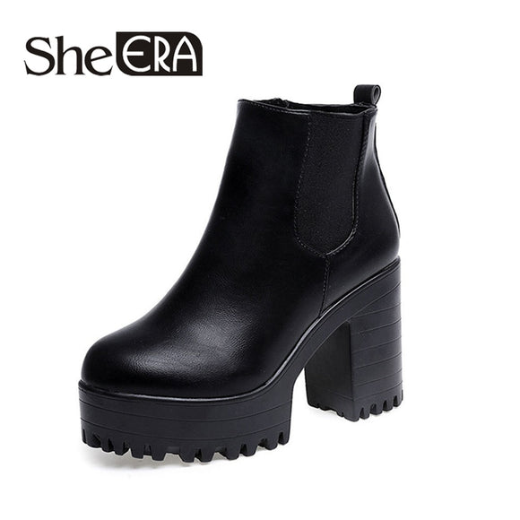 Botas Mujer Fashion Women Boots Square Heel Platforms Zapatos Mujer PU Leather Thigh High Pump Boots Motorcycle Shoes Hot Sale