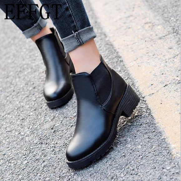 EFFGT 2017 new Hot style Fashion women boots Round head thick bottom PU leather waterproof woman Martin boots free shipping