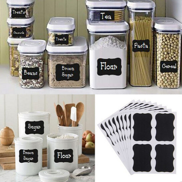 NAI YUE 36pcs Fancy Black Board Kitchen Jam Jar Label Labels Stickers