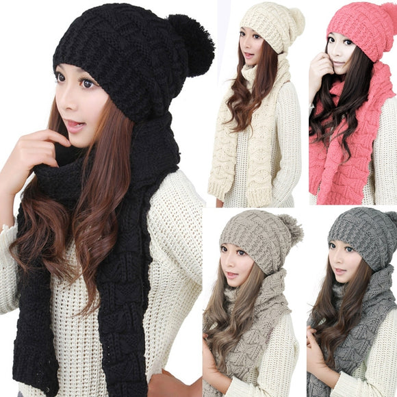2017 Women Scarf And Hat Set Knitted Girls Thicken Knitting Collars Skull Caps