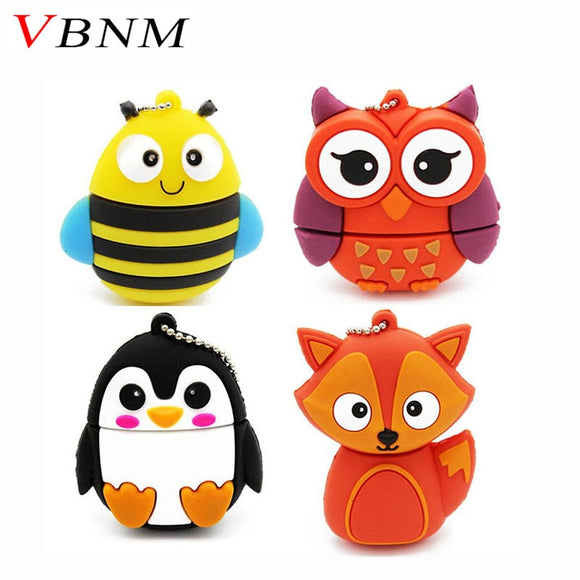 VBNM cute penguin owl fox pen drive cartoon usb flash drive pendrive