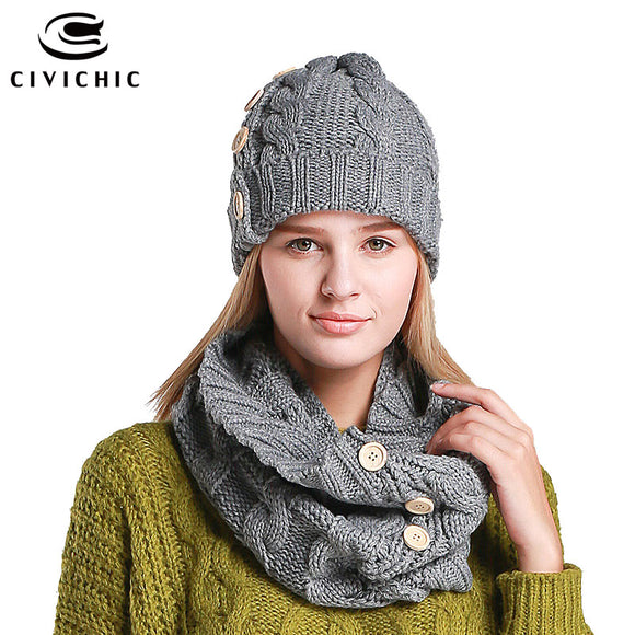CIVICHIC Woman Elegant Knitted Hat Neck Scarf with Buttons Lady Two Piece