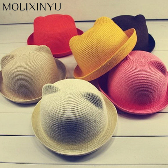 MOLIXINYU Fashion Ears Straw Hats Baby Hats For Girls Bucket Hat