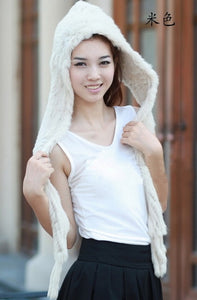 HSPL Hot Sale Warm Rabbit Fur Hat With Scarf - Keep Warm