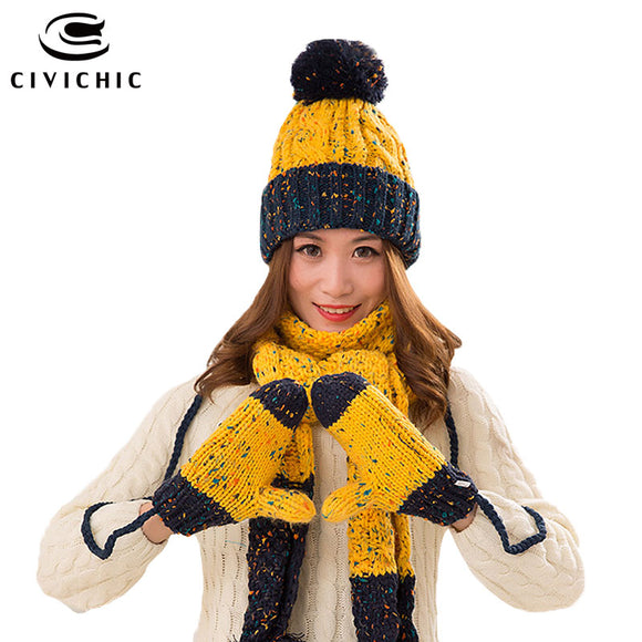 CIVICHIC Woman Warm Set Knit Hat Scarf Glove Female Winter Pompon Beanies Thick Headwear