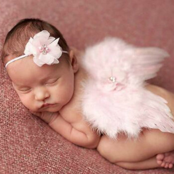 Fashion Newborn Baby Kids Feather Lace Headband & Angel Wings