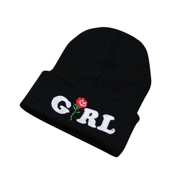 Women Beanie caps Girl Letters Printed Rose Embroidered Beanies Stocking Cap