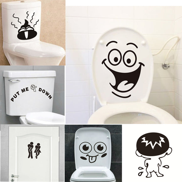 Funny Smile Bathroom Wall Stickers Toilet Home Decoration