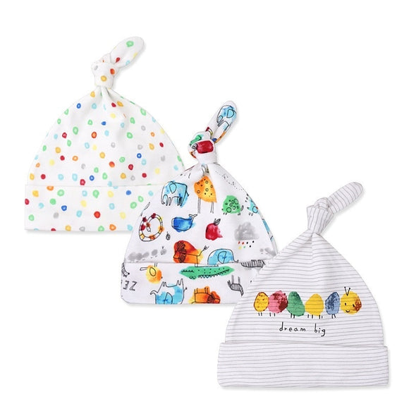 3pcs/lot Baby Hats 100% cotton Printed Baby Hats & Caps For 0-6