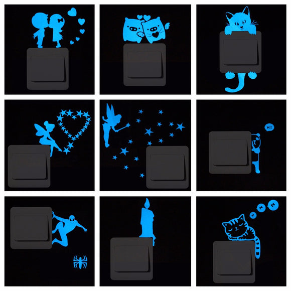 Blue-light Luminous Switch Sticker Home Decor Cartoon Glowing Wall Stickers