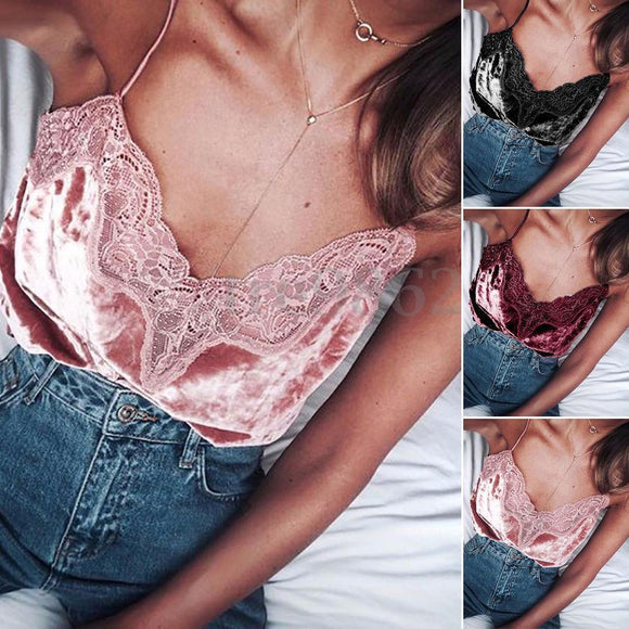 2017 New Fashion Women Sexy Summer Lace Vest Tops Camis Sleeveless