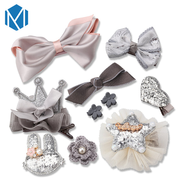MISM 10pcs Headwear Set Children Accessories Ribbon Bow Hair clip Hairpins Girls Princess