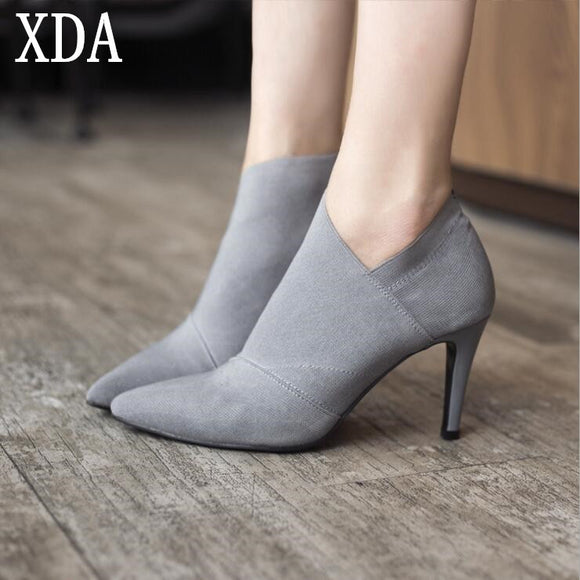 XDA Women Shoes Slip-On Retro High Heel Ankle Boot Elegant Cusp England Casual Short Boots Female Pointed Toe Stiletto Shoes W61