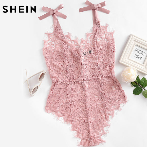 SHEIN Ribbon Tie Shoulder See Though Floral Lace Bodysuit