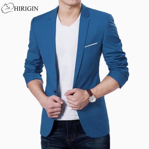 HIRIGIN Mens Korean slim fit fashion cotton blazer Suit