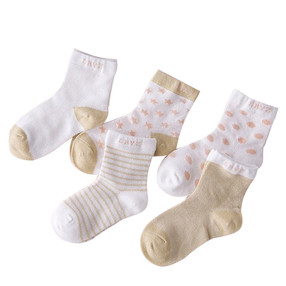 5 Pairs Socks Set Baby Boy Girl Cotton Cartoon Candy Colors Dot