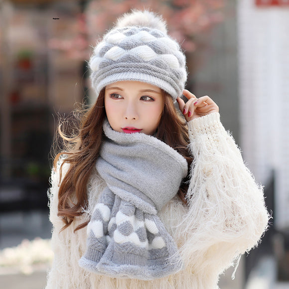 Kagenmo Winter Cap And Scarf Twinsets Women Winter Warm Knit Hat Rabbit Knitting Scarf