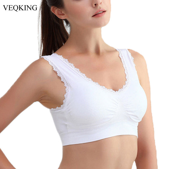 VEQKING Women Lace Sports Bras,M-3XL Plus Size Breathable Push Up Fitness Underwear Gym Yoga Vest Short Tops