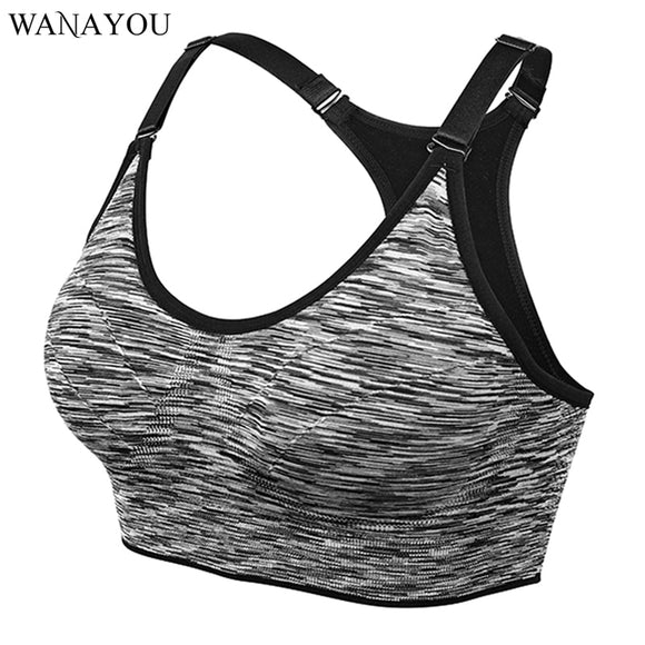 WANAYOU Quick Dry Sports Bra,Women Adjustable Wirefree Padded Shakeproof Push Up Seamless Fitness Running Yoga Sports Tops Vest