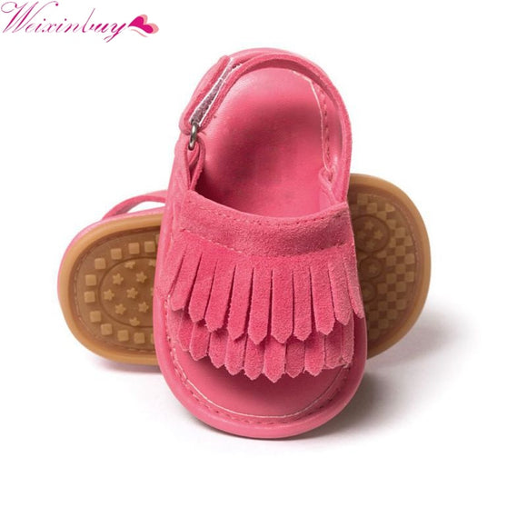 2017 Infant Baby Toddle Baby Girls Shoes PU Leather Tassel Soft Bottom Crib Anti-slip