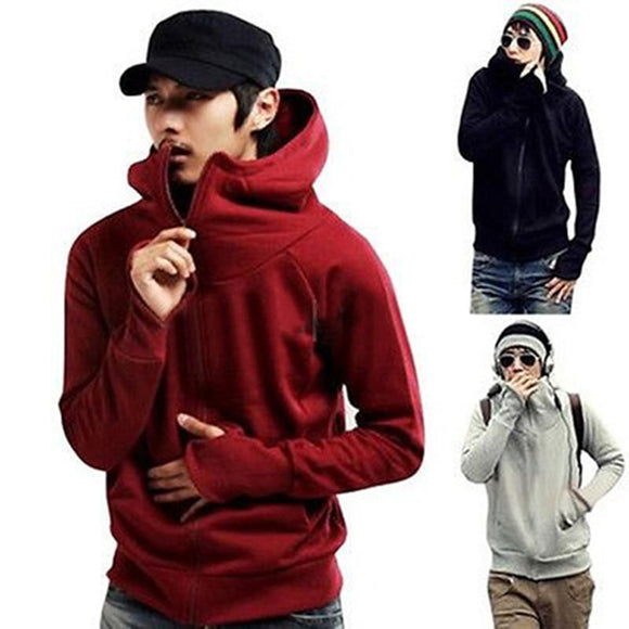 Cool Men  Winter Jacket Warm Solid Color Gloves Sleeve Hooded Sweatshirt Outwear