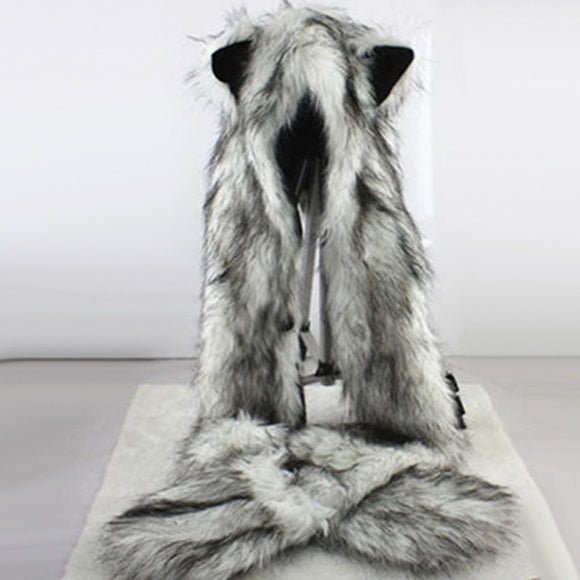 Women Fashion Wolf Ears Paws Faux Fur 3 in 1 women's  Hat