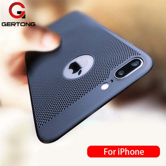 GerTong Ultra Slim Phone Case For iPhone 6 6s 7 8 Plus Hollow Heat Dissipation Cases Hard PC For iPhone 5 5S SE Back Cover Coque