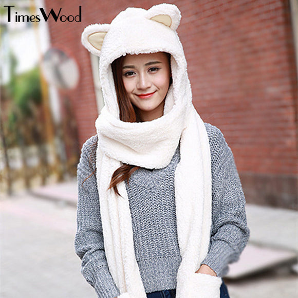 New Women Cat Ear Cute Hats Sets With Scarf Glove Warm Cotton Winter Caps