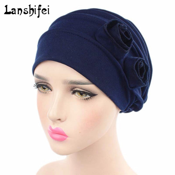 2017 Women Muslim Stretch Beanie Turban Hat Solid Cotton Chemo Cap