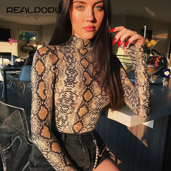 Realpopu snake skin Turtleneck Long Sleeve Bodysuit