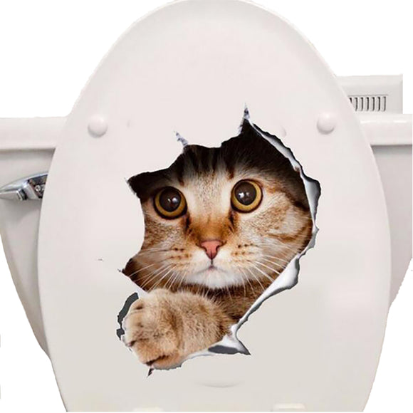 Cats 3D Wall Sticker Toilet Stickers Hole View Vivid Dogs