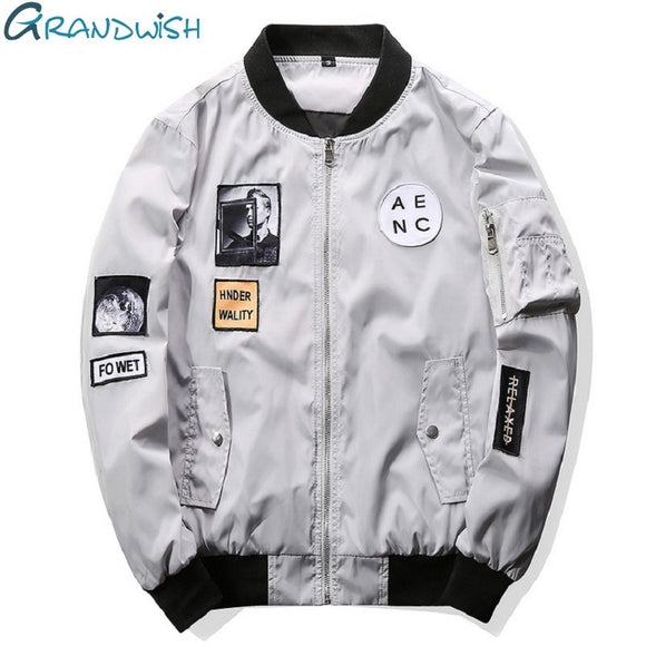 Grandwish Fashion Men Bomber Jacket Hip Hop Patch Designs