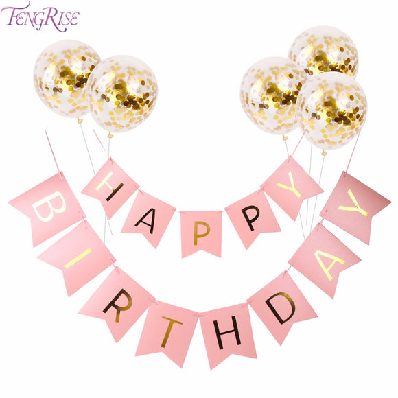 FENGRISE Pink Happy Birthday Banner Gold Confetti Balloons