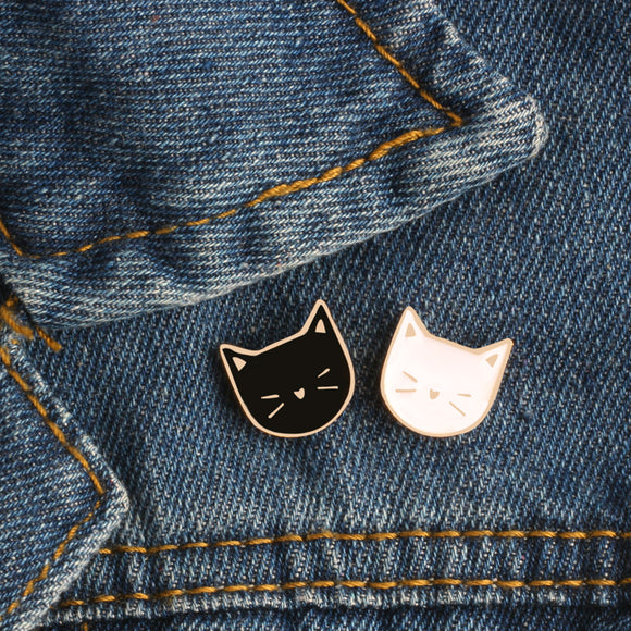 2 Pcs / Set Hot Cartoon Cute Cat Animal Enamel Brooch Pin Badge - NosNos