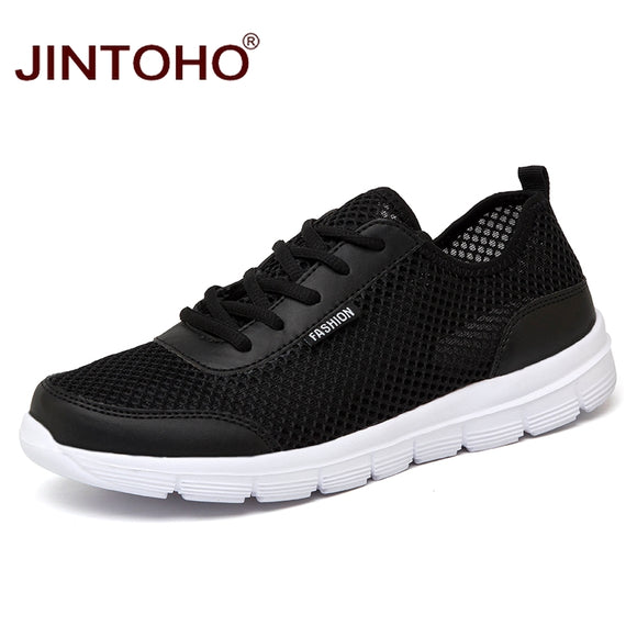 JINTOHO Unisex 2018 Brand Fashion Casual Men Shoes Summer Mesh Male Shoes Cheap Flats Black Sneakers Shoes Casual Men Sneakers