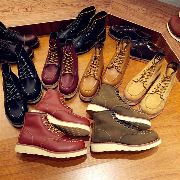 Vintage Men Boots Lace-Up Genuine Leather Boots
