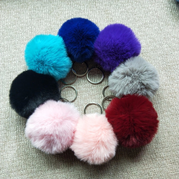 8CM 13 Colors Fluffy Rabbit Fur Ball Key Chain Cute Cream Black Pompom Artificial