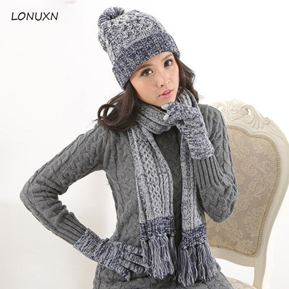 High quality 3 pieces/lot fashionable winter plus velvet thickening knitted mixed color wool