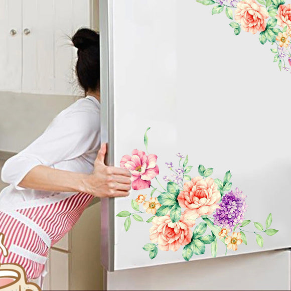 Colorful Flowers 3D Wall Stickers Beautiful Peony Fridge Stickers