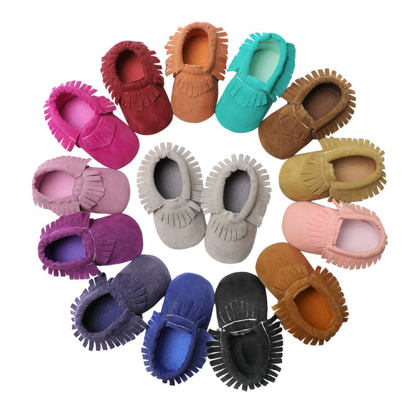 Baby Moccasins PU Suede Leather Newborn Brand Baby Shoes