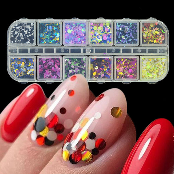 1 Set Mixed Color 3D Ultrathin Sequins Nail Glitter Flakes 1/2/3mm Sparkly DIY Tips Dazzling Paillette Nail Art Decorations TRP - NosNos