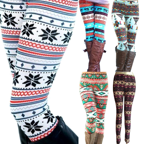 New Brand Women Warm Winter Knit Snowflake Leggings Xmas Stretch Pants Printing Nine Pants