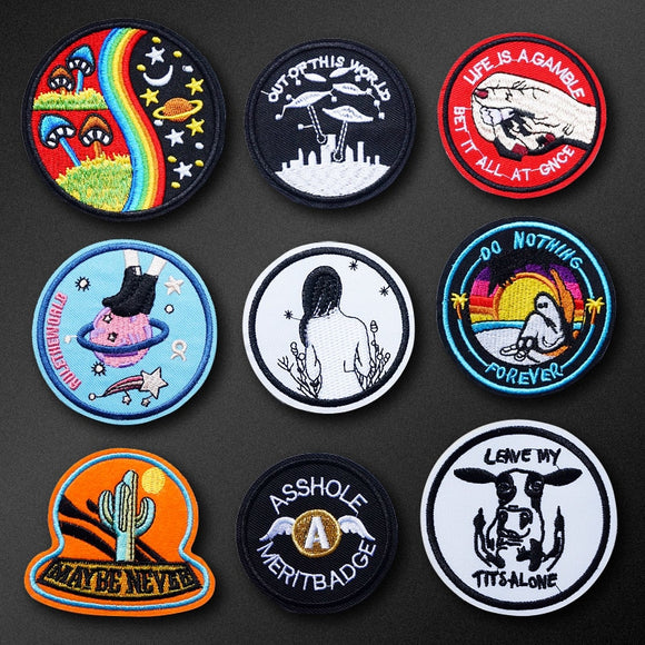Fly Cow UFO Girl DIY Iron On Patch Clothes